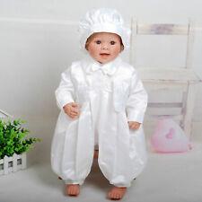 Baby Boys White Satin Christening Gown Three Piece Set 0 3 6 9 12 Months