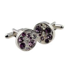 Round Purple Pink & Clear Diamante Cufflinks - X2PSD004