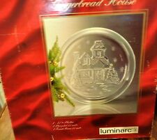 "Luminarc 13"" Glass Christmas Gingerbread House Platter with Snowflakes Made USA"