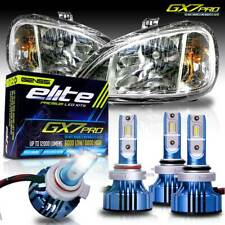 Pro LED Headlights Chrome Low High Beam for Freightliner Columbia 2004-2015 Set
