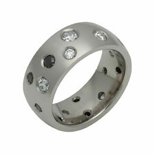 Two-Color Assorted Cubic Zirconia Titanium Ring 8mm Wide Polish Engagement Band