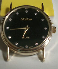 Gold finish round black dial men's watch face movement  for watches