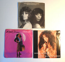 DONNA SUMMER Vinyl 45 RPM W PIC SLEEVES LOT OF 3 Enough Is Enough Streisand