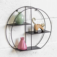 39.4cm Round Retro Metal Wire Industrial Wall Storage Unit Display Shelf Cabinet
