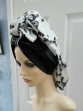Mrs Sabiha Black&white Turban slouchy hat hijab hair covered Chemo one size...,,