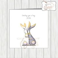Thinking Of You Sending A Hug, Two Bunnies Rabbits Hugging Supportive Friendship