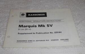 Original,Ransomes Marquis Mark 5V Motor Mower operators Inatructions