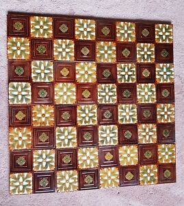 A panel of 16 beautiful Gothic Majolica tiles from around 1875