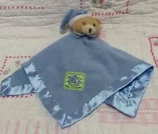 Baby Essentials Blue tan teddy bear Security Blanket night cap sail boat patch