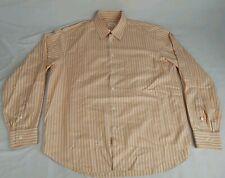 BRIONI Men's Dress Shirt Long Sleeve Peach & White Stripe w/ Pocket Italy Sz XL