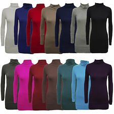 New Ladies Plus Size Turtle Neck Full Sleeve Waist Band Tunic Polo Neck Tops