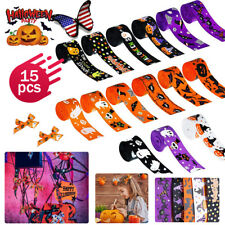 15 Rolls Halloween Grosgrain Ribbons Bat Spider Printed Ribbon for Gift Wrapping