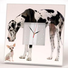 Great Dane and Chihuahua Dogs Wall Clock Framed Mirror Decor Pet Lovers Art Home