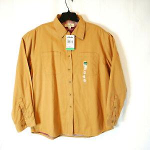 Women's Cabela's Flannel Lined Cornstalk Button Down Shirt Size Large Reg NWT