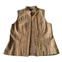 JH Collectibles Tan Suede Leather Embellished Country Cowgirl Boho Vest Medium
