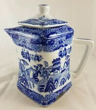 Blue Willow Square Shaped Oriental Teapot with Lid Victoria Ware Ironstone Mark