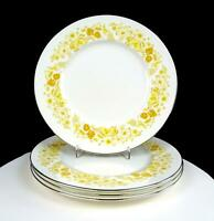 "WEDGWOOD ENGLAND MIMOSA YELLOW FLORAL PLATINUM TRIM 4 PIECE 10.75"" DINNER PLATES"