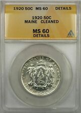 1920 Maine Silver Half-Dollar Coin 50C ANACS MS-60 Cleaned (Better Coin 9A)