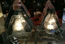 """Pair of Vintage 7"""" Mirror/Etched Glass Christmas Candle Holders"""