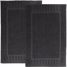 "White Classic Luxury Bath Mat Floor Towel Set - 100% Cotton 22""x34"", 2 Pk, Black"