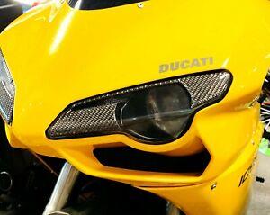 Fit Ducati 1098 dry Carbon Fiber front light trim eyeline eyelids Pad trim kit