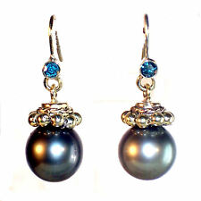 Unikat Ohrhänger schwarze 12,6 mm Tahiti Perlen blaue Diamanten, 585er Gelbgold