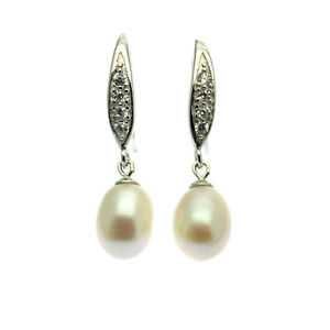 Pearl Drop Earrings Sterling Silver White Freshwater Pearls Faux Diamond Inlay
