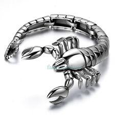 Fashion Cool Heavy Biker Stainless Steel Scorpion Bangle Chain Men's Bracelets