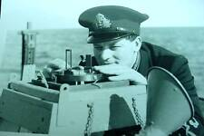 Navy Officer Taking Instrument Sighting Corvette WW2 B&W Scotland  Photo