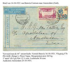 NED INDIE  1931-10-14  FLIGHT CV BATAVIA- AMSTERDAM  F/ VF