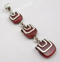 .925 Solid Silver Genuine RED CARNELIAN WOMEN'S MADE IN INDIA LONG Pendant 2""