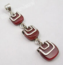 "Made In India Long Pendant 2"" .925 Solid Silver Genuine Red Carnelian Women'S"