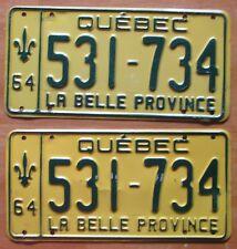 Quebec 1964 License Plate PAIR # 531-734