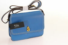 Tula Brand New Saddle Originals Compact Crossbody Bag In Blue Leather RRP £89.00