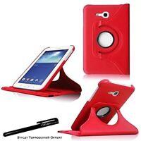 Housse Etui Rouge pour Samsung Galaxy Tab 3 Lite T110 Coque Support Rotatif 360°