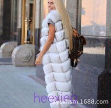 Luxury Real Fox Fur Women Sleeveless Full Length Vest Winter Warm Jacket Coat XY