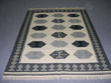 Kilim Rugs 5'x7' Beige Color Area Rug Dhurrie Indian Wool Bohemian Bedroom rug