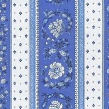 Textiles français Provençal stripe floral wreath fabric (Blue) - 100% Cotton