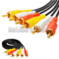 6ft 3 RCA Composite AV Audio Video Cable Gold Plated Male