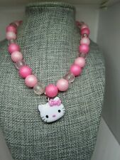 Hello kitty pink bead necklace Sanrio Childrens necklace stretch Beads