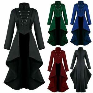 Women Lady Gothic Steampunk Button Corset Halloween Costume Coat Tailcoat Jacke