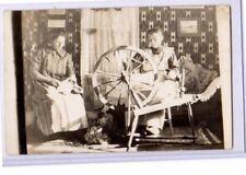 Real Photo Postcard RPPC - Women Spinning Wheel & Carding Wool - Sewing