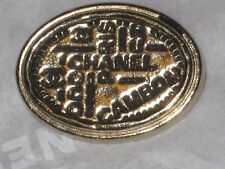 CHANEL PARIS CC LOGO GOLD  AUTH METAL  BUTTON TAG 16 x 12 MM emblem NEW
