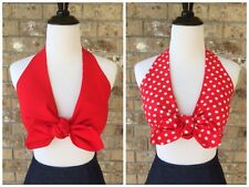 Red Polka Dot Reversible Daisy Mae Halter Top Tie Front Crop PinUp Retro XS S