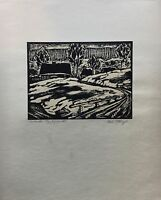 Woodcut um 1930 Landscape in Slovakia - Willi Ettrich - Expressive