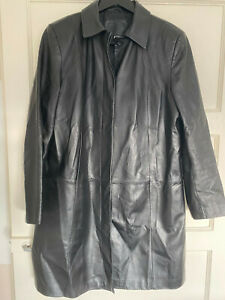 M&S Ladies Black Leather Coat size 18