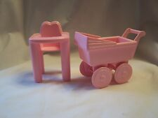Vintage Playskool Dollhouse Pink Baby Stroller/Carriage & Pink Highchair