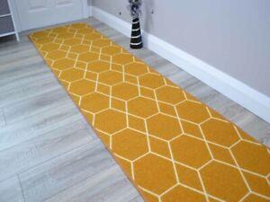 Gold Hexagon Long Hall Hallway Corridor Wide Narrow Floor Carpets Rugs Cheap