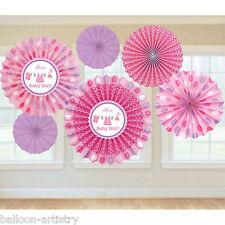 6 Pink Girl's New Baby Shower con AMORE PARTY DA APPENDERE Carta Ventilatore Decorazioni