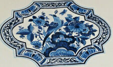 Delft Blue Tones Bird Floral Center Cotton Handkerchief Holland Souvenir 1970's